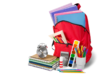 School supplies overflowing from red backpack